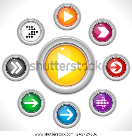 Vector - Set of Arrows on Colorful Buttons - stock vector