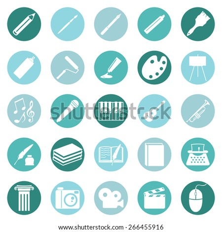 Vector Set of Art Icons. Drawing, Music, Writing and Other. - stock vector