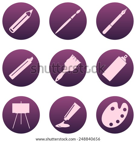 Vector Set of  Art,  Painting and Drawing Icons - stock vector