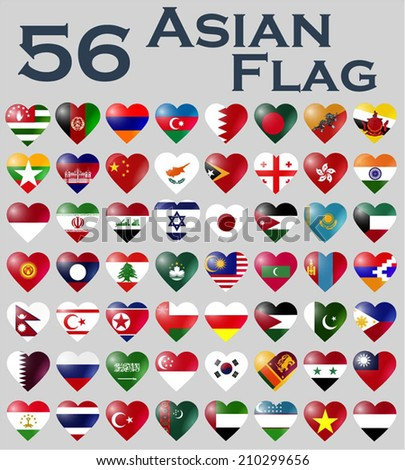 Vector set of Asian flags in heart shape. - stock vector