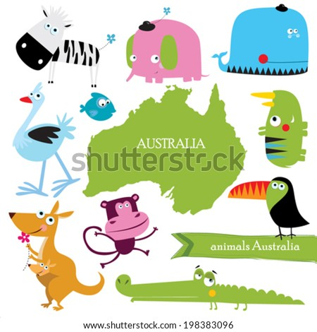 Vector set of Australian animals - stock vector