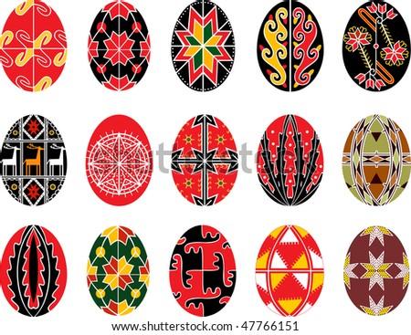 vector set of authentic Ukrainian easter eggs - stock vector