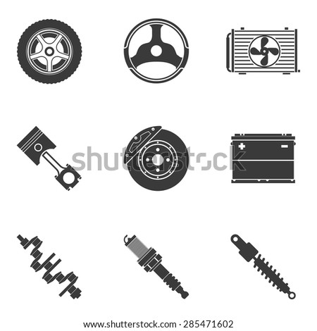Vector set of auto spare parts. Gear and spark plug, wheel and radiator, accumulator and transmission - stock vector