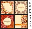 Vector set of autumn cards with a floral pattern. Vector illustration eps.10. - stock vector
