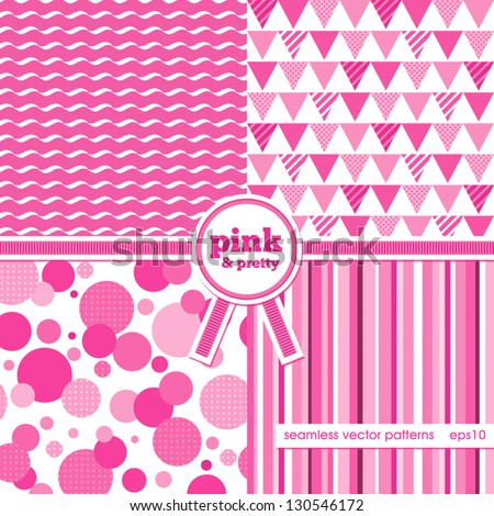 Vector set of 4 background patterns in bright pink Good for Baby Shower, Birthday, Mother's Day, wedding, scrapbook, greeting cards, gift wrap, surface textures. See my folio for JPEG versions. - stock vector