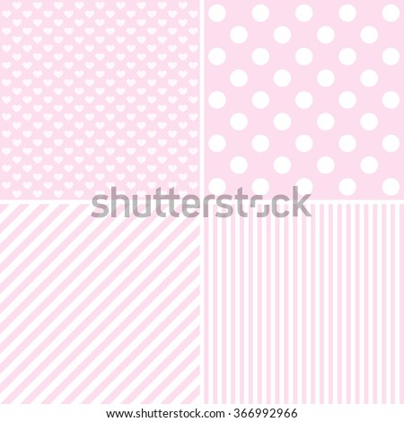Vector set of 4 background patterns in pale pink.  - stock vector