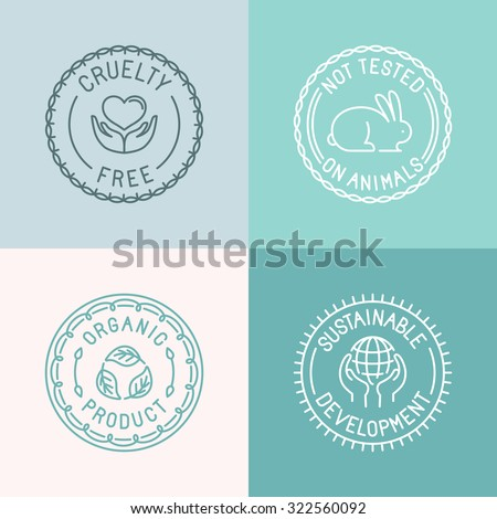 Vector set of badges and emblems in trendy linear style for organic and natural cosmetic packaging - cruelty free, not tested on animals, organic product, sustainable developments - stock vector