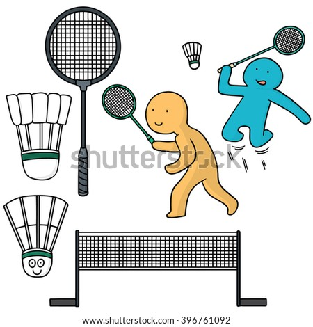 vector set of badminton