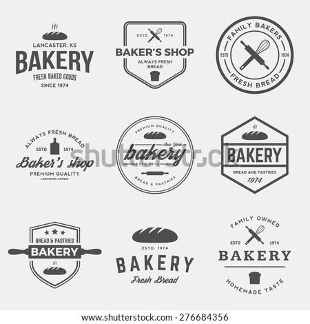 vector set of bakery labels, badges and design elements  - stock vector