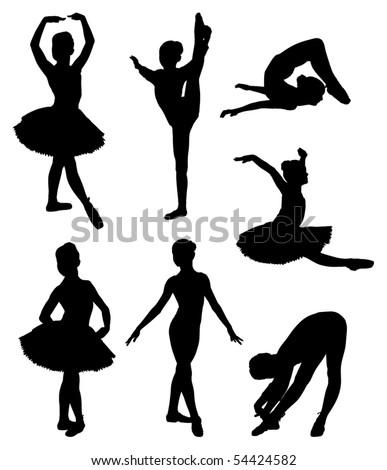 Vector set of ballerina silhouettes - stock vector