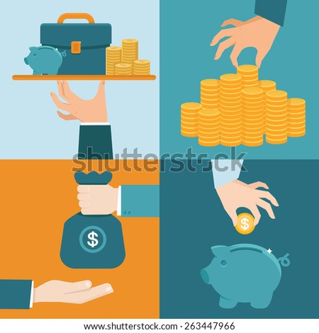 Vector set of banking concepts in flat style - businessman's hand with serve plate - special offer - investment and savings - stock vector