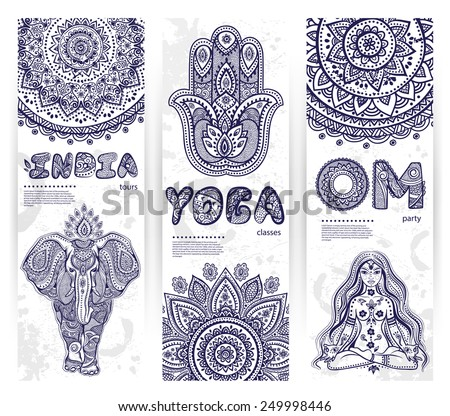 Vector set of banners with ethnic and yoga symbols for your business - stock vector