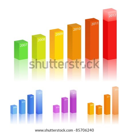 Vector set of bar graphs - stock vector
