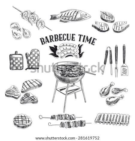 Vector set of barbecue and grill elements. Vector illustration in sketch style. Hand drawn design elements. - stock vector