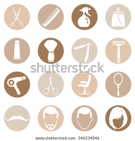 Vector Set of Barber Shop Icons - stock vector