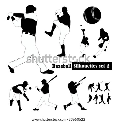 Vector Set of  baseball players Silhouette illustrations