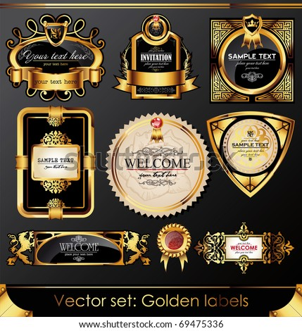 Vector set of beautiful black gold-framed labels - stock vector
