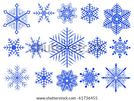 Vector set  of 15 beautiful snowflakes.