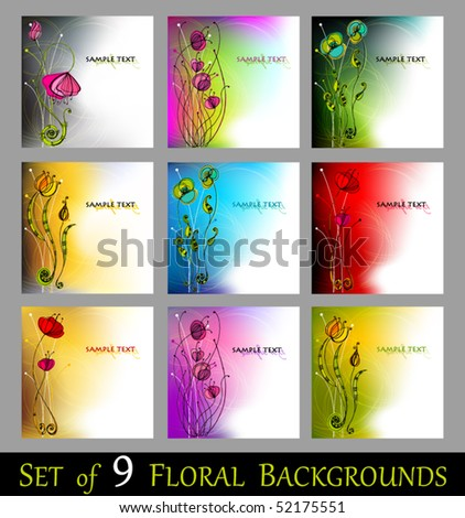 vector set of beautiful spring floral background