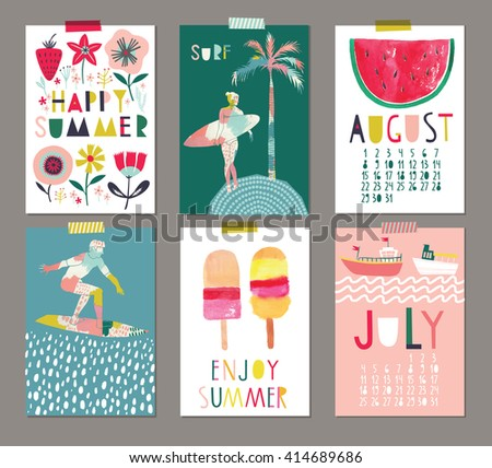 Vector set of Beautiful Summer Posters. - stock vector