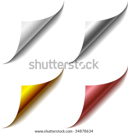 Vector set of bent page corners. One matt and three glossy ones. - stock vector