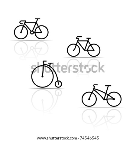Vector set of bicycle silhouettes on a white background - stock vector