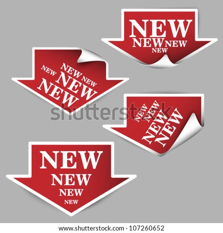Vector set of big red paper arrows - four types - new - stock vector