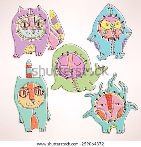 Vector set of bizarre creatures - stock vector