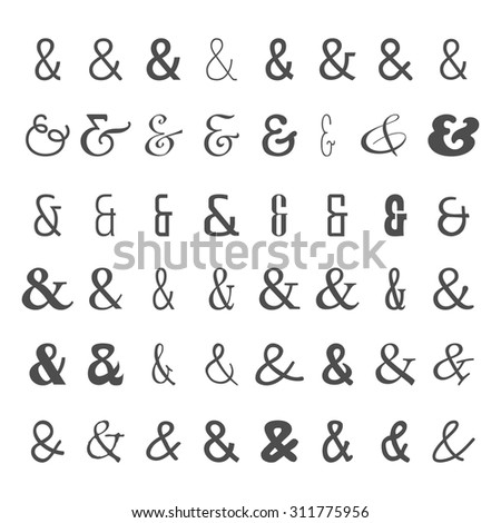 Vector set of black ampersands icons on white background. Isolated symbols from different fonts. For letters and wedding invitation - stock vector