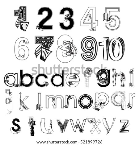 Vector set of black and white abstract hand drawing modern letters and numbers isolated on white background