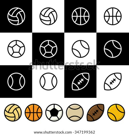 Vector Set of Black and White and Colorful Sports Balls (Baseball, Soccer, Basketball, Tennis, Volleyball, Rugby or American Football) . Vector illustration for web design and mobile applications - stock vector