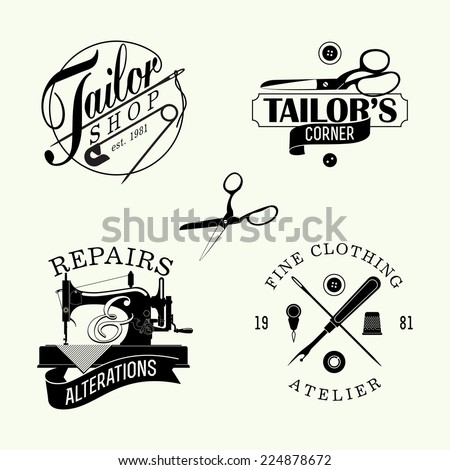 Vector set of black and white stylish tailor shop, cloth repair and alteration shop and atelier insignia | Retro looking stylish dressmaking shop emblems  - stock vector