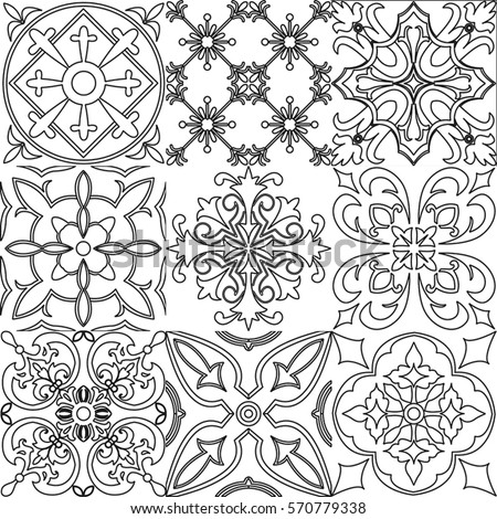 Vector Set Black White Tiles Background Stock Vector Royalty Free - Black and white talavera tile