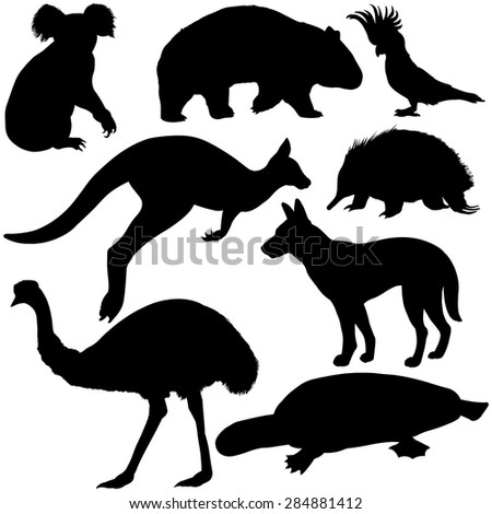 Vector Set of Black Australian Animals Silhouettes - stock vector