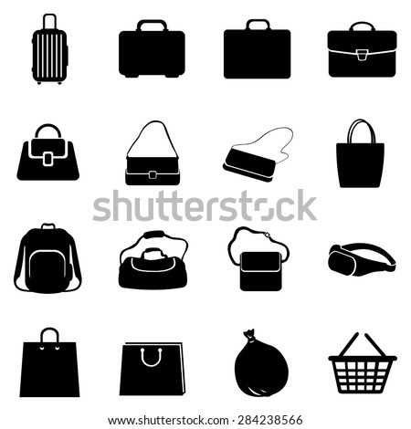 Vector Set of Black Bags Icons - stock vector