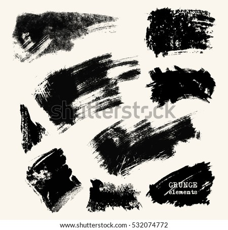 Vector set of black brush strokes. Grunge isolated elements. Smoke brushes for your design. Freehand. Ink splash. Acrylic stamp. Vector illustration.