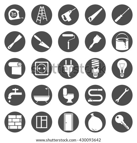 Vector Set of Black Circle Home Repairing, Building, Construction and Decoration Icons
