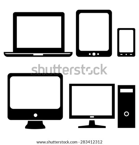 Vector Set of Black Digital Devices Icons. Laptop, Tablet, Mobile, PC. - stock vector