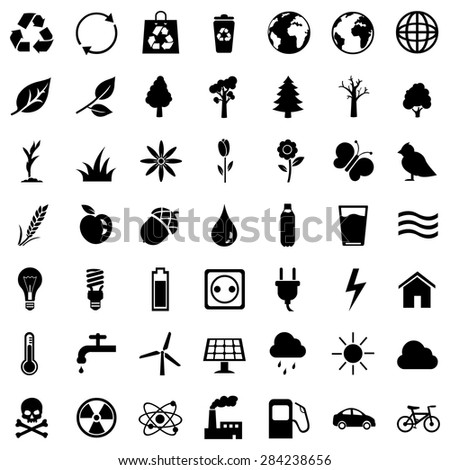 Vector Set of Black Ecologic Icons - stock vector
