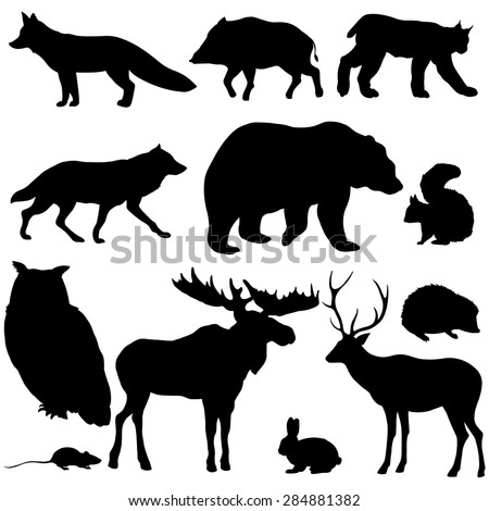 Vector Set of Black Forest Animals Silhouettes - stock vector