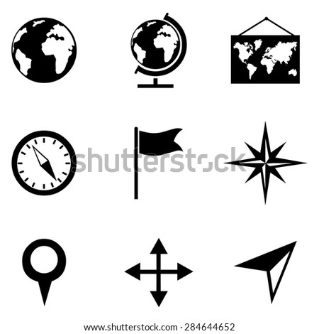 Vector Set of Black Geography Icons. - stock vector