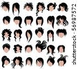 "Vector set of black hair styling for woman (from my big ""Hair fashion collection"") - stock vector"