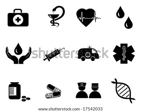 vector set of black medical icons - stock vector