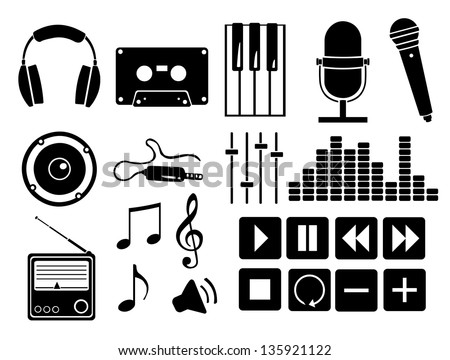 Vector set of black music icons - stock vector