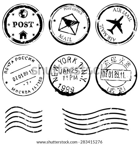 Vector Set of Black Postal Stamps. Mail, post office, air mail, russian post, american post, new york, china post, wave stamp. - stock vector