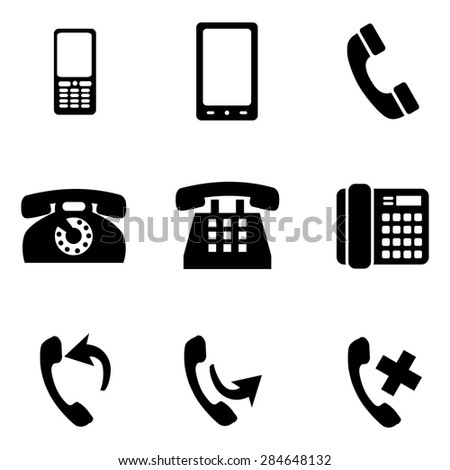 Vector Set of Black Telephone Icons - stock vector