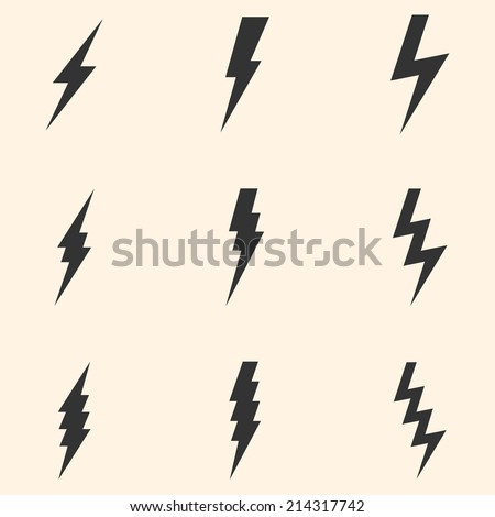 Vector Set of Black Thunder Lighting Icons - stock vector