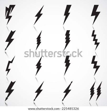 Vector Set of Black Thunder Lighting Icons  - stock vector