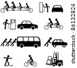 Vector set of black transportation icons. - stock photo