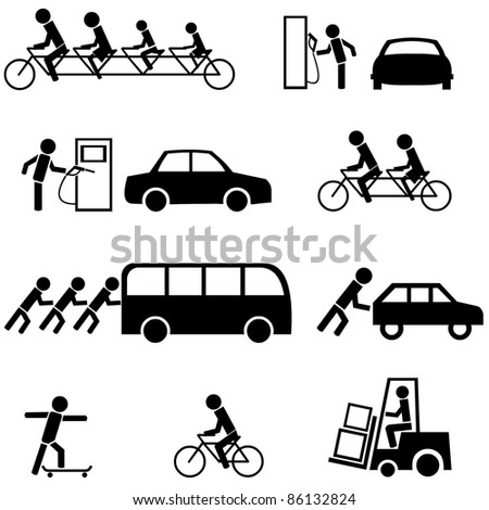 Vector set of black transportation icons. - stock vector